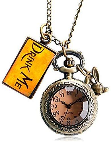 Mode Drink Me Tag Kaninchen Kaninchen Geschenk Geschenk Dunkelbraun Braun Glastasche Uhr Alice im Wunderland Vintage Pend Reed Retro Mini Ste Ampunk Dekorieren Geschenk für Vater