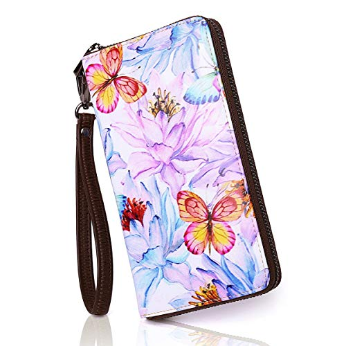 APHISON Designer Women Wallet Long Card Case for Ladies Artistic Purse Clutch with Wristlet Microfiber Leather Gift Box Purple Butterfly 045