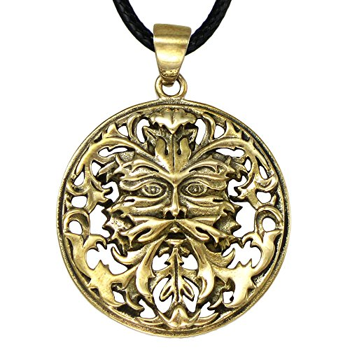 Bronze Celtic Green man Pendant Necklace by Oberon Zell