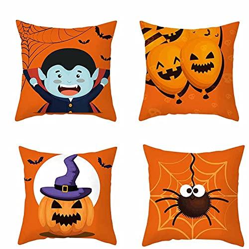 QAZW Decorazioni di Halloween Federe per Cuscini Set di 4 Zucche Decorative Autunnali Federa per Cuscino per Divano e Poltrona,S-45x45cm
