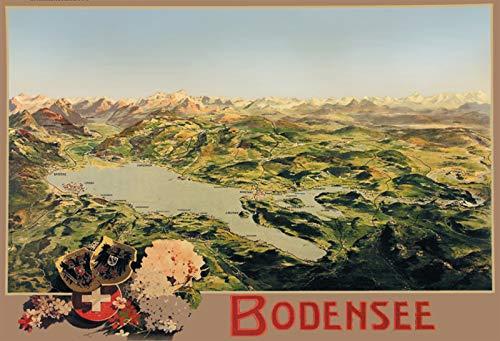 Schatzmix Kaart Bodensee Duitsland Zwitserland metalen bord Deco 20x30 tin Sign metalen bord, blik, meerkleurig, 20x30 cm