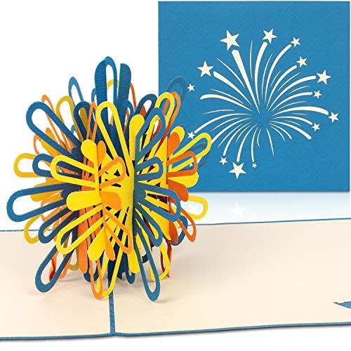 PaperCrush® Pop-Up Karte Silvester Feuerwerk [NEU!] - 3D Geschenkkarte für verschiedene Anlässe (Guten Rutsch ins Neue Jahr, 18. Geburtstag) - Handgemachte Geburtstagskarte inkl. Umschlag