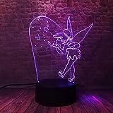 Dibujos animados Campana 3D Copo de nieve Campanilla Princesa 7 Cambio de color Figura de acción Luz nocturna Niño