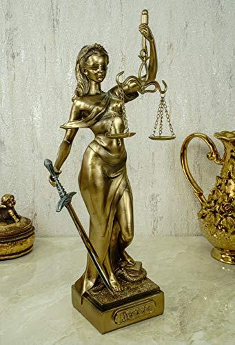 Kremers-schatkist Justitia figuur 36 cm sculptuur met briefopener Goud godin van rechtvaardigheid BGB Modern wet