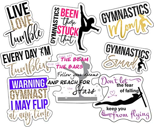 Gymnastics Stickers, Perfect Gymnastics Gifts for Girls, Anywhere You Need Gymnastics Decals, Laptop Stickers, Water Bottles, Waterproof Durable 100% Vinyl