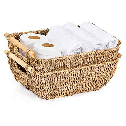 Artera - Cestas de mimbre tejidas a mano, cestas de almacenamiento de pasto marino con asas de madera, tamaño mediano, 37 x 26 x 12,7 cm, 2 unidades