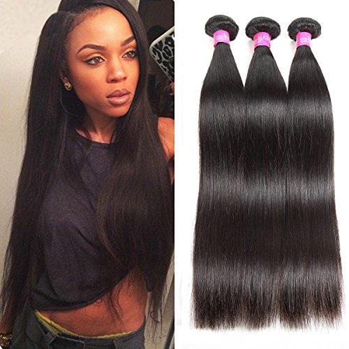 ISEE Hair 8A Malaysian Virgin Straight Hair 3 Bundles 100% Unprocessed Human Hair Weave Bundles Human Hair Extensions 3 Bundles Deal Natural Black 20 22 24inches