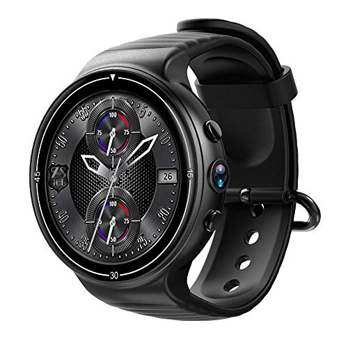 MROSW Bluetooth Smart Watch Android 7.0 4G Smartwatch hartslagfrequentie 1GB + 16GB met 2MP camera GPS-wifi polshorloge voor vrouwen mannen, zwart