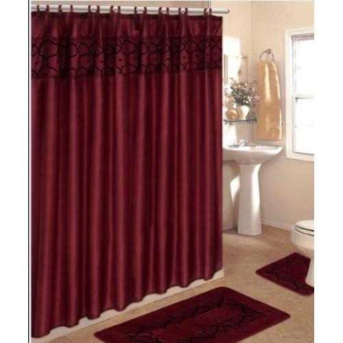 4 Piece Bathroom Rug Set 3 Burgundy Flocking Bath Rugs With Fabric Shower Curtain