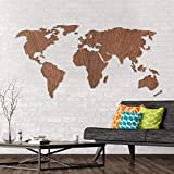 Mapamundi de madera de caobaen 3D- Wall Art