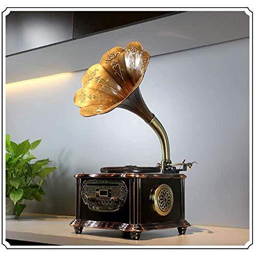 Mnjin Grammofono in Metallo Vecchio grammofono Bluetooth Stereo Mini fonografo Decorazioni per la casa 20,8 * 17,1 * 33,3 cm Ornamenti