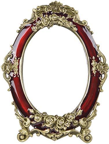 Nerien Decorative Vintage Tabletop Mirror Retro Metal Countertop Vanity Makeup Mirror Rose Embossed Antique Oval Mirror with Stand for Home, Bedroom, Dressers, Living Room, Bathroom Wine Red