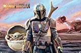 Trends International Star Wars: The Mandalorian - Mando and The Child with Ship Wall Poster, 22.375' x 34', Unframed Version