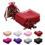 MAZYPO 100pcs Red Organza Gift Bags 2x3 Inch Sheer DrawstringGift Bags Jewelry Pouches Wedding Party Christmas Favor Gift Bags,Little Mesh Gift Pouches Mini Candy Bags for Small Presents Earrings