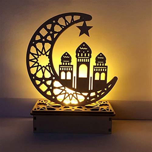 2 paquetes Eid Mubarak Ramadan Lámpara, Lámpara De Bricolaje De Madera LED Eid, DIY LED Tabla Ornamento de la Noche Festival de la Luz de la decoración por el Islam Ramadán (Color : A)