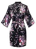 VOGTORY Kimono de satén Floral para Mujer, Kimono Corto de Seda para Dama de...