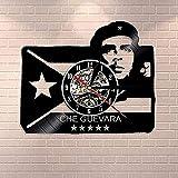 Retrato de Hombre revolucionario Cubano con Bandera Cubana Pintura de Roca Reloj de Pared socialista Reloj de Pared de Vinilo Vintage SIN LED-No_Led