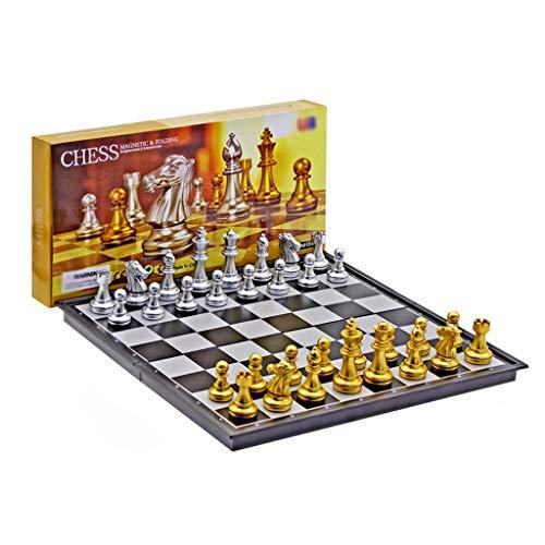 Juego de ajedrez plegable de plástico magnético para ajedrez de ajedrez internacional, juego de tablero de ajedrez portátil, regalo de cumpleaños, juego de ajedrez (color: oro, plata, tamaño: 36 cm)