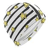 Tcerlcir Gorro Natación Patrón de Estrellas Amarillas Rayas Blancas Negras Gorro de Piscina para Hombre y Mujer Hecho de Silicona Ideal para Pelo Largo y Corto