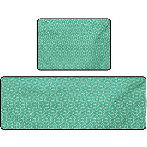 Kitchen matt, Geometrical Line Art Waves Oval Shapes Optical Illusion Pattern, 17'x48' + 17'x24' Comfort Floor Mat Rug for Home Kitchen, Turquoise Cream Pale Orange