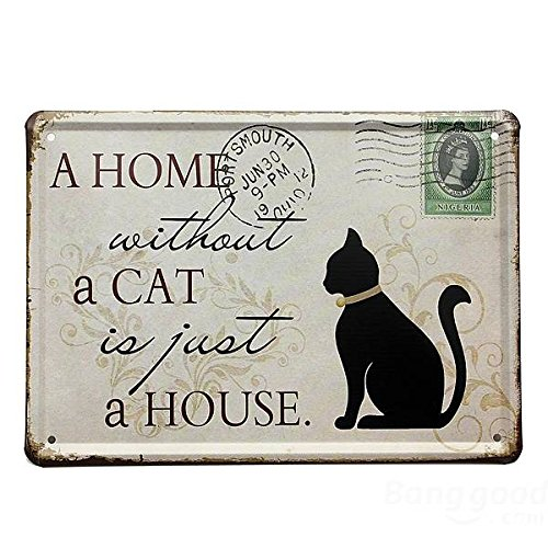 Mark8shop Zwarte Kat Tin Teken Stempel Vintage Pub Muurdecoratie Thanksgiving Dag Gift