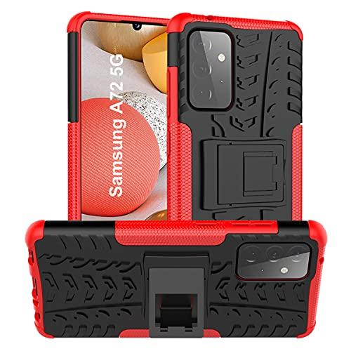ALDHOFA Funda Samsung A72 5G, resistente a los golpes, cubierta híbrida de doble capa con función atril para Samsung A72 5G, color rojo