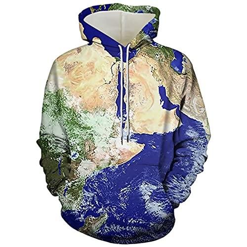 XDJSD Suéter con Capucha para Hombre Suéter De Gran Tamaño para Hombre Camiseta De Moda Jersey con Capucha Camiseta con Estampado De Mapa S-7xl