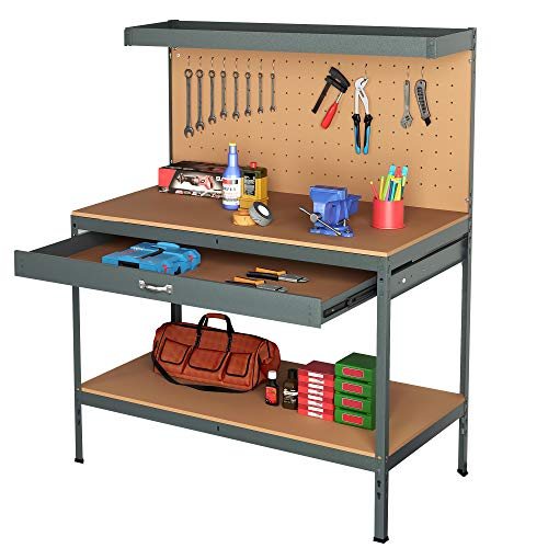 Steel Garage Work Bench Workbench Storage With Drawers Pegboard and 12 Pegs Tool Box Shelf Boltless DIY Workshop Station For Sheds Heavy Duty 500kg Capacity, Grey