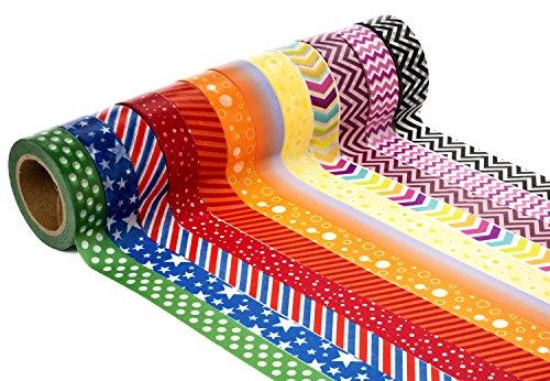 Decorative Craft Washi Masking Tape (Set of 12 Rolls) by United Tapes