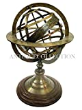 ANTIQUECOLLECTION Antique Armillary Sphere Replica Brass Armillary Sphere Armillary Sundial Small Armillary Gift Decor (Brass Antique, 13.8 x 13.8 x 21.5cm) (8 inches)