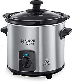Russell Hobbs Compact Home Mini Slowcooker (1,5L), 3 Warmtestanden, Uitneembare Keramische Pan, Zuinig, Deksel van Gehard ...