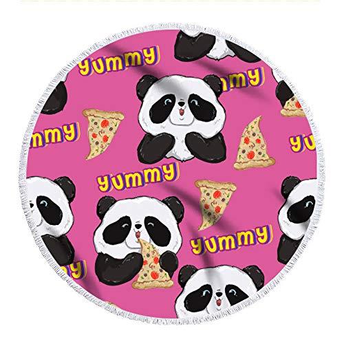 Gxeb Panda 3D Impreso Playa Toalla Suave Y Secado Rápido Cámping Redondo Microfibra Unisexo Baño Toalla Y/A / 150 * 150cm