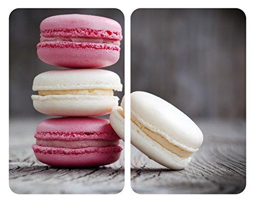 WENKO Herdabdeckplatte Universal Macarons, 2er Set Herdabdeckung für alle Herdarten, Gehärtetes Glas, 30 x 52 cm, mehrfarbig