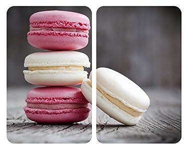 Wenko Herdabdeckplatte Universal Macarons, 2er Set, Kochplattenabdeckung und Schneidebrett für alle Herdarten, Gehärtetes Glas, 30 x 52 cm, mehrfarbig