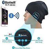 ONX3 Noir Bonnets sans Fil Bonnets Bonnet Smart Winter Knit Hat V4.1 écouteurs musicaux écouteurs avec 2 Haut-parleurs Unisexes...