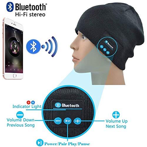ONX3 Schwarz Wireless Beanie Hats Cap Smart Winter Strickmütze V4.1 Musikalische Kopfhörer Kopfhörer mit 2 Lautsprechern Unisex Unique Christmas Tech Gifts Kompatibel mit Wiko Sunset 2
