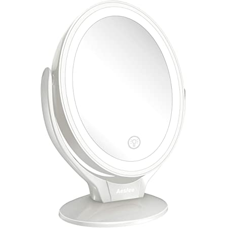 Amazon Com Aesfee Led Lighted Makeup Vanity Mirror Rechargeable 1x 7x Magnification Double Sided 360 Degree Swivel Magnifying Mirror With Dimmable Touch Screen Portable Tabletop Illuminated Mirrors White Beauty