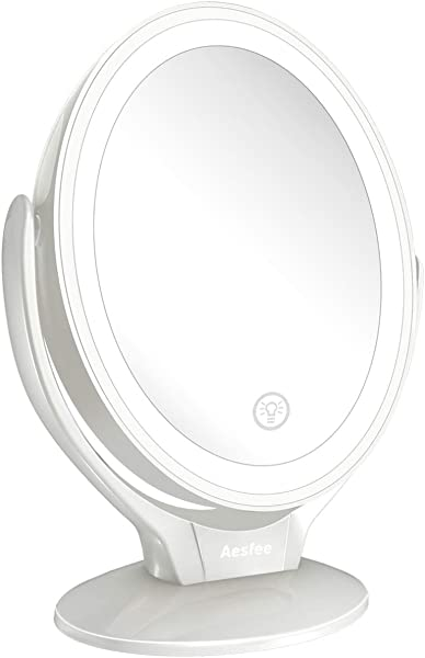 7x Magnified LED Lighted Makeup Mirror Two Sided Light Up Illuminated Makeup Vanity Mirrors Touch Sensor Switch 3 Levels Adjustable Brightness Rechargeable Table Top Cosmetic Mirror White