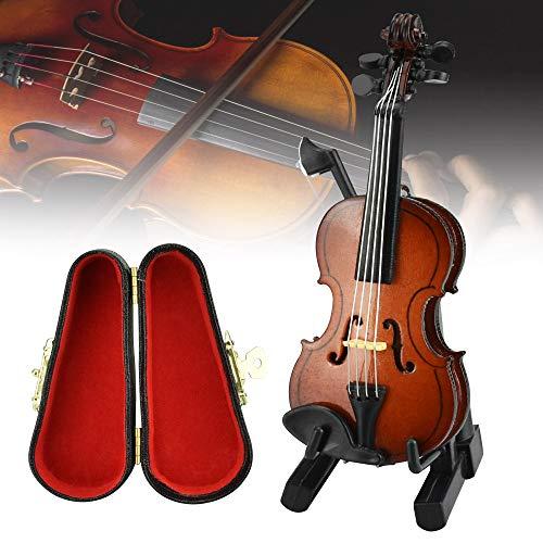 CODIRATO Holz Violine Violine Spielzeug Miniatur Violine Mini Violine Modell mit Ständer, Bogen, Koffer Mini Geige Musikinstrument für die Hausdekoration Puppenhaus Dekoration Kinder Spielzeug