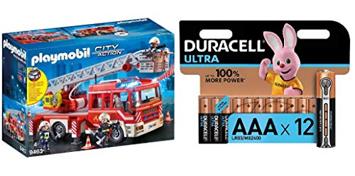 PLAYMOBIL City Action Camión de Bomberos con Escalera, Luces y Sonido, a Partir de 5 Años (9463) + Duracell - Ultra AAA con Powerchek, Pilas Alcalinas (Paquete de 12) 1.5 Voltios