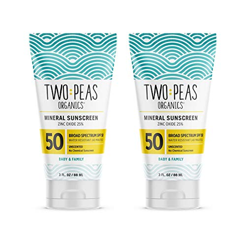 Two Peas Organics - All Natural Organic SPF 50 Sunscreen Lotion - Coral Reef Safe - Baby, Kid & Family Friendly - Chemical Free Mineral Based Formula - Waterproof & Unscented – 3oz – 2 Pack