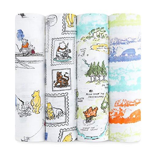 aden + anais Disney Baby maxi-langes, 100% mousseline de coton, 120cm x 120cm, pack de 4, Winnie l'Ourson