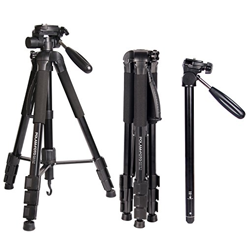 POLAM-FOTO Professionelles Stativ Aluminium Stativ mit Tasche für Canon / Nikon / Sony DSLR / SLR Kamera Stativ Stativ / Monopod(176cm)