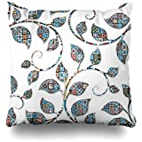 jonycm Cushion Cover Colores Decorleaf Leaf Cya Dmask Pattern Design Decoración para El Hogar Funda De Almohada Funda De Cojín Cuadrado Decorativo Funda De Almohada 45X45Cm