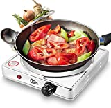 Image of UtenStainlessSteelSingleHotplate,PortableElectricHobwithTemperatureControlforHomeCooking , 5 Power Levels Stainless Steel Hot Plate ,1500W