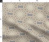 Spoonflower Stoff – Antike Spitze Grau Creme gedruckt auf