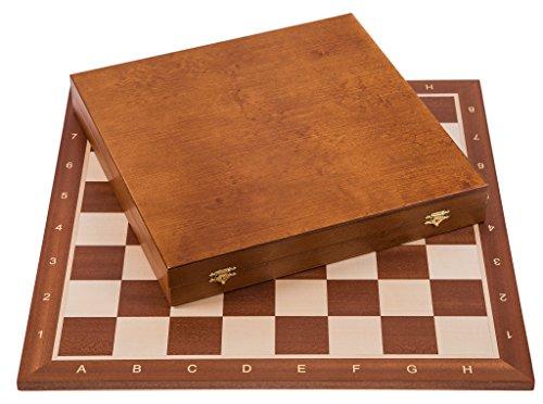 Square - Pro Schach Set Nr. 6 - Mahagoni LUX - Schachbrett + Schachfiguren Staunton 6 + Kasten Lux - Schachspiel aus Holz
