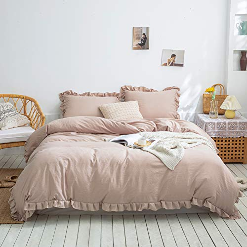 Merryword Taupe Ruffle Bedding Taupe Duvet Cover Set Shabby Chic Ruffle Fringe Design Soft Taupe Grey Bedding Sets Queen 1 Duvet Cover 2 Ruffled Pillow Shams (Queen, Taupe)