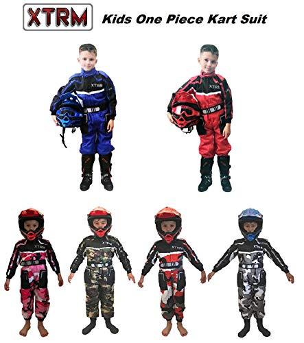 XTRM Kinder Rennkart Anzug – Junior Motocross Kinder Quad Dirt Bike MX Off Road Trials Go-Karting Enduro Kinder ATV MTB BMX Sport Overalls Racing einteiliger Anzug