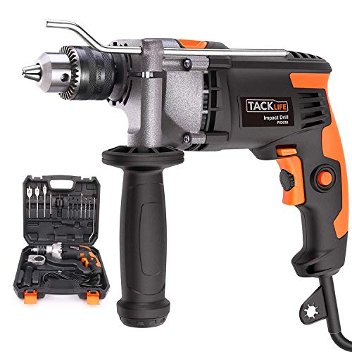 Hammer Drill,850W 3000 RPM Hammer and Drill 2 Mode in, Impact Drill with 15 Drill Bits,Hand Electric Drill of 360°Rotating Handle,Depth Gauge,Suitable for DIY Woodworking - TACKLIFE PID03B